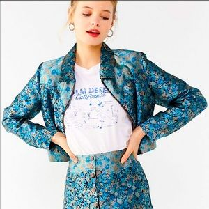 New UO western floral gas jacket blue